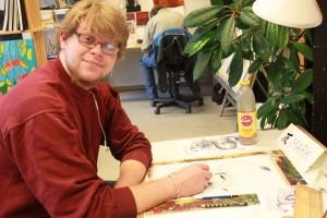 Mark Overgaard i praktik på Snurretoppen november 2012. Mark startede senere som elev på Snurretoppen
