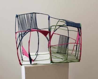 flerfarvet bevikling - ståltråd og garn
