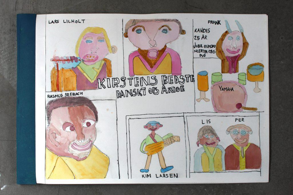 Kirstens bedste Dansktop Sange. bog- 6 sider- akvarel og flydende tusch